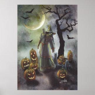 A misty walk at Halloween. Poster