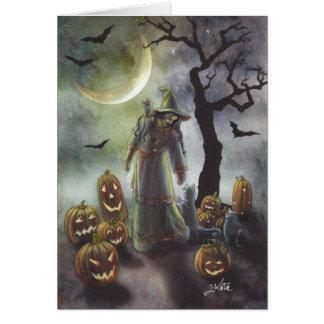 A misty walk on Halloween. Card