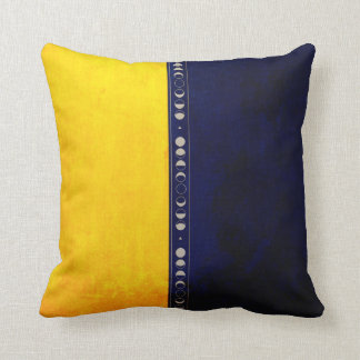 A Mix of Dark Blue and Golden Yellow Fabric with t Throw Pillow