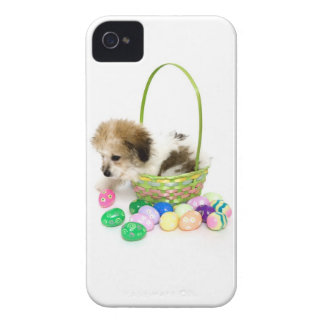 A mixed breed puppy sitting in an Easter basket iPhone 4 Cases