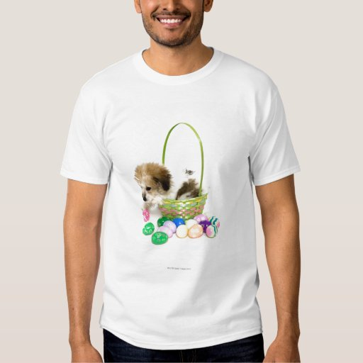A mixed breed puppy sitting in an Easter basket T Shirt