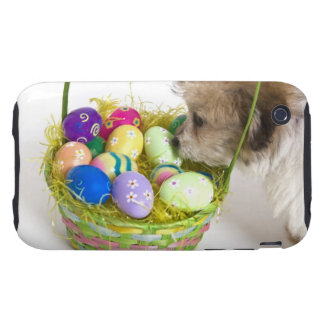 A mixed breed puppy sniffing at an Easter basket Tough iPhone 3 Covers