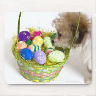 A mixed breed puppy sniffing at an Easter basket Mouse Pad