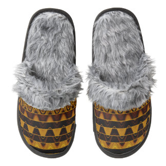 A Modern Abstract Colorful Gold Wave Pattern Pair Of Fuzzy Slippers