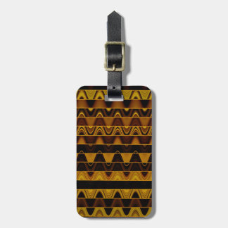 A Modern Abstract Colorful Gold Wave Pattern Luggage Tag