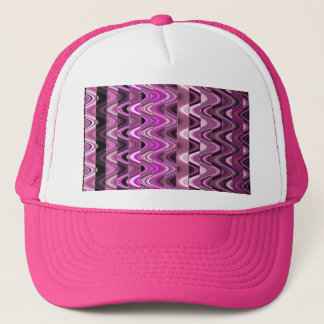 A Modern Abstract Colorful Pink Wave Pattern Trucker Hat