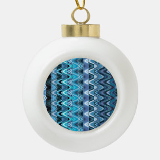 A Modern Abstract Colorful Wave Pattern Ceramic Ball Christmas Ornament