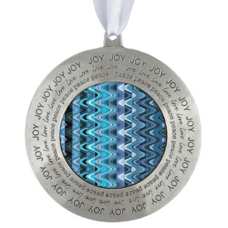 A Modern Abstract Colorful Wave Pattern Pewter Ornament