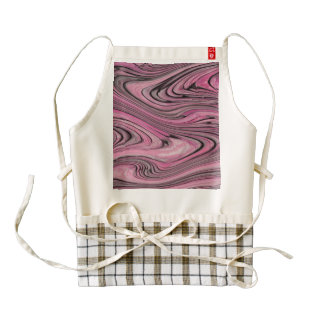 A Modern Abstract Pink Black Wave Pattern Zazzle HEART Apron