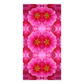 A modern abstract pink yellow orchids pattern. card