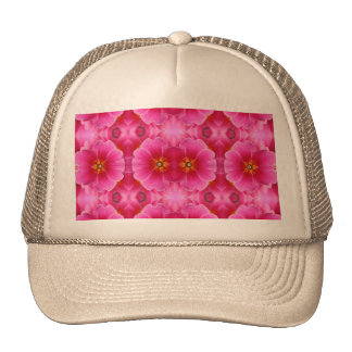 A modern abstract pink yellow orchids pattern. trucker hat