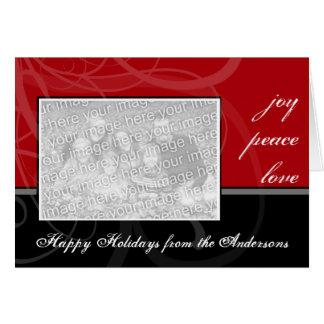 A Modern Black & Red Photo Greeting Card