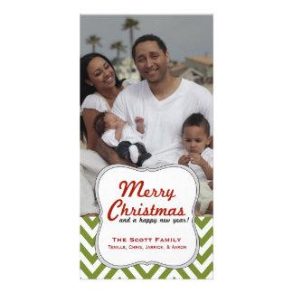A Modern Green Chevron Family Photo Christmas Card