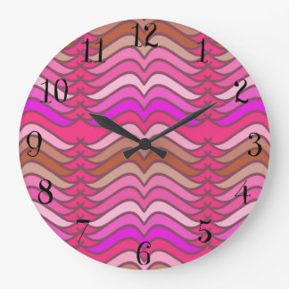 A modern neon pink  wave pattern large clock