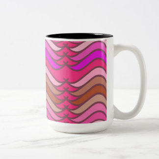 A modern neon pink  wave pattern Two-Tone coffee mug