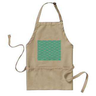 A modern neon teal japanese wave pattern adult apron