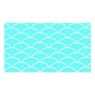 A modern neon teal japanese wave pattern Double-Sided standard business cards (Pack of 100)