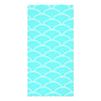 A modern neon teal japanese wave pattern card