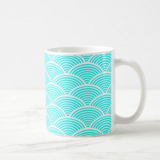 A modern neon teal japanese wave pattern coffee mug