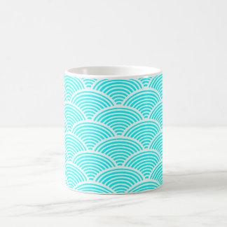 A modern neon teal japanese wave pattern magic mug