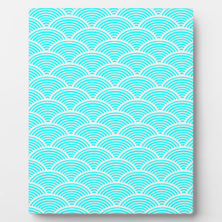A modern neon teal japanese wave pattern plaque
