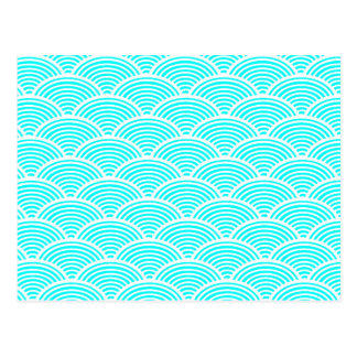 A modern neon teal japanese wave pattern postcard