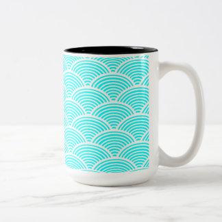 A modern neon teal japanese wave pattern Two-Tone coffee mug