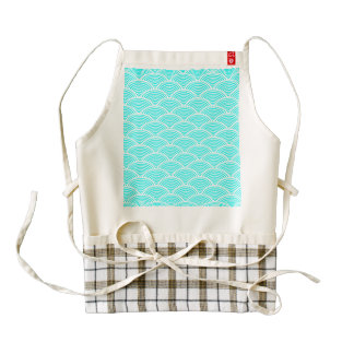 A modern neon teal japanese wave pattern zazzle HEART apron