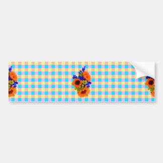 A Modern Pink Teal Checkered Sun Flower Pattern Bumper Sticker
