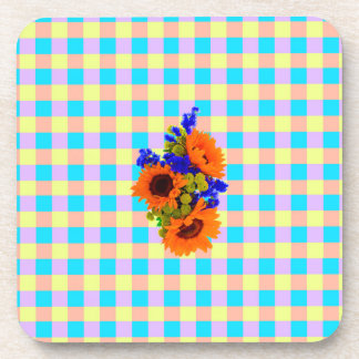 A Modern Pink Teal Checkered Sun Flower Pattern Drink Coaster