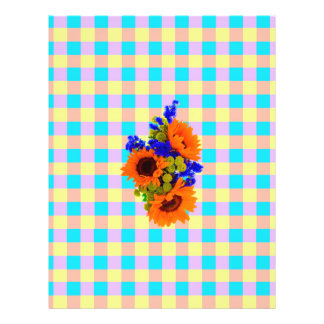 A Modern Pink Teal Checkered Sun Flower Pattern Personalized Flyer