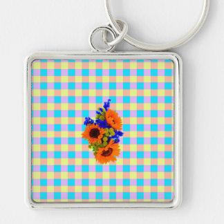 A Modern Pink Teal Checkered Sun Flower Pattern Key Chain