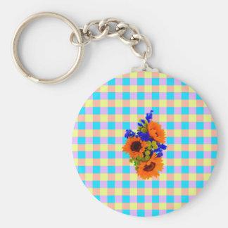 A Modern Pink Teal Checkered Sun Flower Pattern Keychain