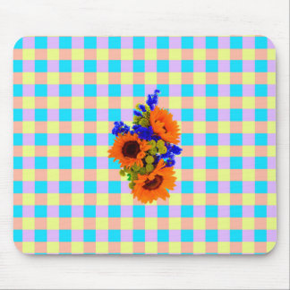 A Modern Pink Teal Checkered Sun Flower Pattern Mouse Pad