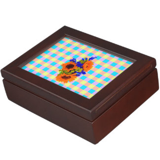 A Modern Pink Teal Checkered Sun Flower Pattern Keepsake Boxes