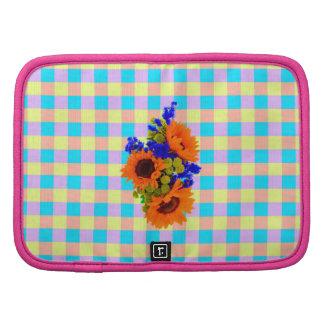 A Modern Pink Teal Checkered Sun Flower Pattern Organizer