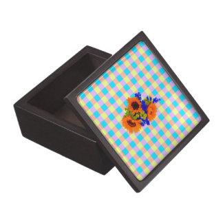 A Modern Pink Teal Checkered Sun Flower Pattern Premium Keepsake Box