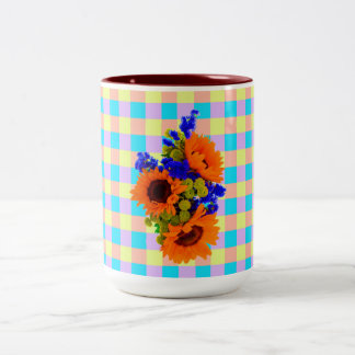 A Modern Pink Teal Checkered Sun Flower Pattern Two-Tone Coffee Mug