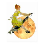 A Modern Witch flies on Vacuum Cleaner to the Moon Post Cards