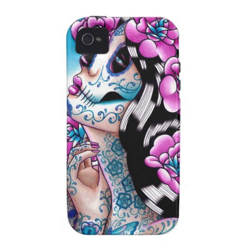 A Moment of Silence- Tattooed Sugar Skull Girl Case-Mate iPhone 4 Covers