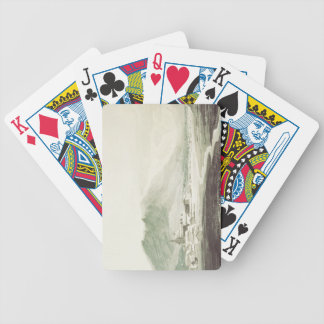A monastery in an alpine valley (grey & blue washe bicycle playing cards