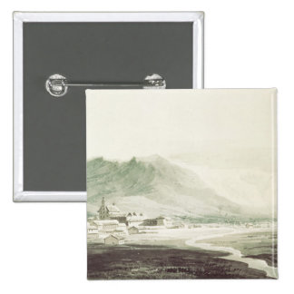 A monastery in an alpine valley (grey & blue washe 2 inch square button