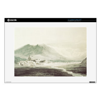 A monastery in an alpine valley (grey & blue washe skin for laptop