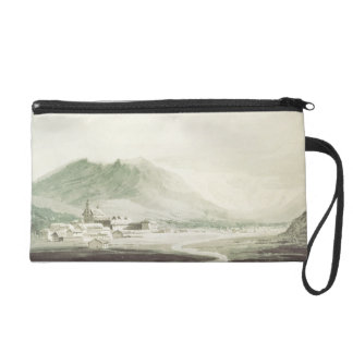A monastery in an alpine valley (grey & blue washe wristlet purse