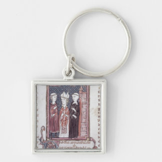 A Monk, a Bishop and an Abbot Silver-Colored Square Keychain