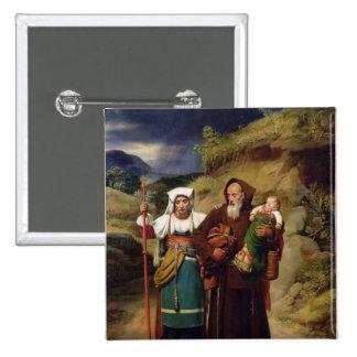 A Monk Helping a Pilgrim Pinback Button