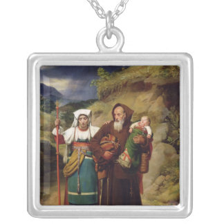 A Monk Helping a Pilgrim Silver Plated Necklace