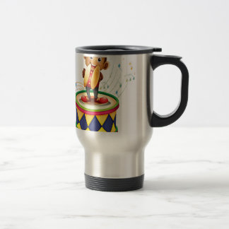 A monkey above a drum with cymbals 15 oz stainless steel travel mug