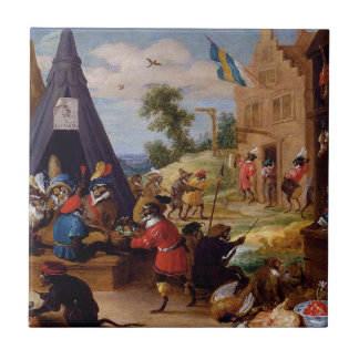 A Monkey Encampment by David Teniers the Younger Ceramic Tile