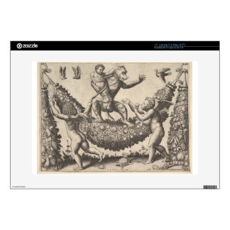 """A monkey holding a bound putto standing on a garla skin for 15"""" laptop"""